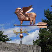 Flying Sheep Weathervane left side view with cloudy sky background