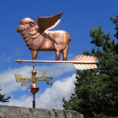 Flying Sheep Weathervane left angle view with cloudy sky background