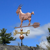 Goat Weathervane left angle view on blue sky background