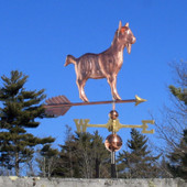 Goat Weathervane right side view on blue sky background
