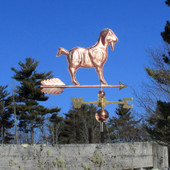 Nubian Goat Weathervane right side view on blue sky background