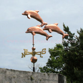 Three Dolphins Weathervane left angle view on gray sky background