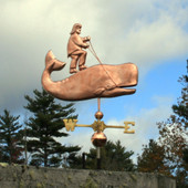 Man riding a Whale Weathervane right side view on blue cloudy background