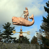 Man riding a Whale Weathervane left front side view on blue cloudy background