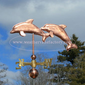 Double Dolphins Weathervane left side view on stormy background