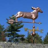 Dachshund Weathervane with ears flowing right rear angle on blue sky background