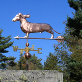 dachshund weathervane  with ears flowing left side view on blue sky background