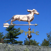 Dachshund Weathervane with ears flowing right front angle on blue sky background