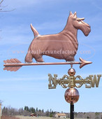 Scottish Terrier Weathervane Right Side View on blue sky background, shown here also with scrolled directionals.