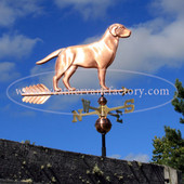 Labrador Weathervane on blue sky background, handmade to order from The Weathervane Factory.
