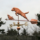 Large Jumping Labrador and Quail Weathervane left side view on cloudy background