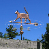 Nice Cat Weathervane shown with tail up and walking left angle side view with blue sky background