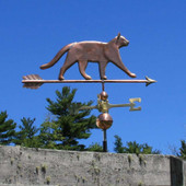 Sleek Cat Weathervane right side view on blue sky background
