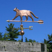 Sleek Cat Weathervane left side view on blue sky background