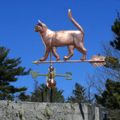 cat weathervane, side view on blue sky image