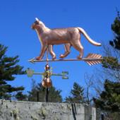 Walking Cat Weathervane left side view on blue sky background