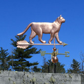 Walking Cat Weathervane right side view on blue sky background