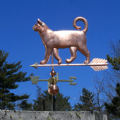 Curly Tail Cat Weathervane left side view on blue sky background