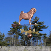 Pug Weathervane right side view on blue sky background