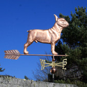 Large French Bulldog Weathervane right side view on blue sky background