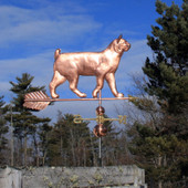 large walking bobtail cat weathervane right side view on blue cloudy background