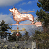 super corgi weathervane wearing mask and cape left side view on blue cloudy background