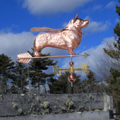 super corgi weathervane wearing mask and cape right side view on blue cloudy background