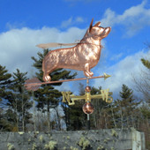super corgi weathervane wearing mask and cape right angle view on blue cloudy background