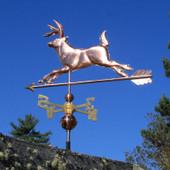 Running Deer Weathervane Left Rear View on Blue Sky Background