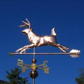Running Deer Weathervane Right Side View on Dark Blue Sky Background