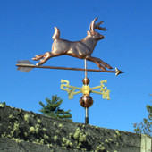 Running Deer Weathervane Right Side View on Light Blue Sky Background