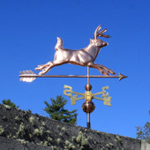 Running Deer Weathervane Right Side View on Blue Sky Background