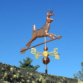 Running Deer Weathervane Front Right View on Blue Sky Background
