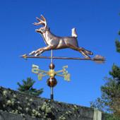 Running Deer Weathervane Left Side View on Blue Sky Background