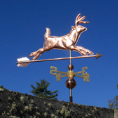 Running Deer Weathervane Right Angle View on Dark Blue Sky Background