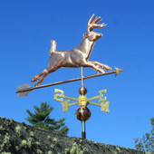 Running Deer Weathervane Right Front View on Light Blue Sky Background