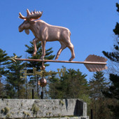 large moose weathervane left side view on blue sky background