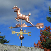 leaping deer weathervane left side view on cloudy sky background