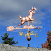leaping deer weathervane right side view on cloudy sky background