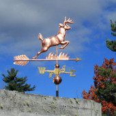 leaping deer weathervane right angle view on cloudy sky background