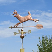 Buck Running Deer Weathervane side view with blue sky background