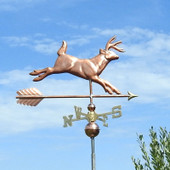 Whitetail Deer Weathervane right side view with blue sky background