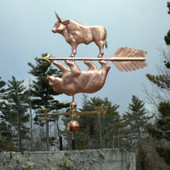 bull and bear weathervane left side view with cloudy background