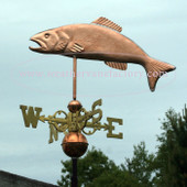 Trout Weathervane left side view on blue sky background and shown with scrolled directionals