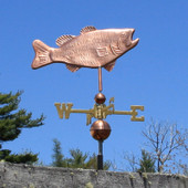 bass weathervane right side view on blue sky background