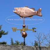 Bass Weathervane left side view on blue sky background