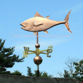 Tuna Fish Weathervane left side view on blue sky background
