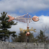 copper bonefish weathervane right side view on cloudy background