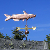 Catfish Weathervane right side view on blue sky background