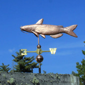 Catfish Weathervane left side angle view on blue sky background